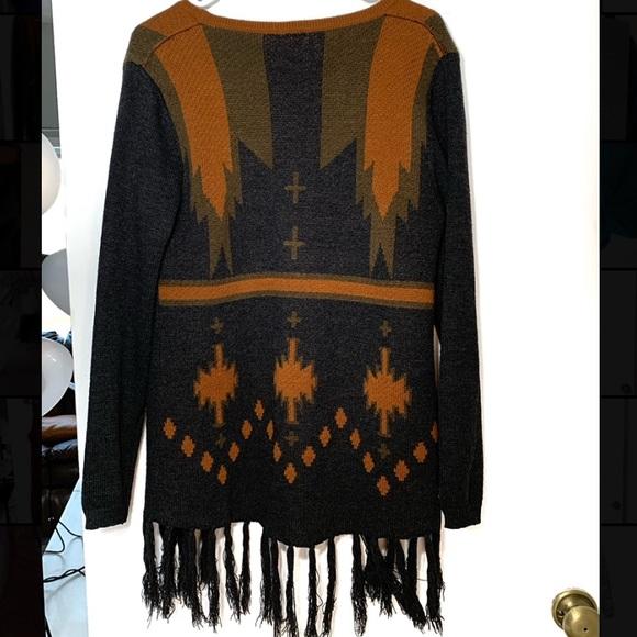 Daytrip fringe blackbrown & orange cardigan